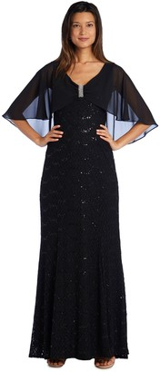 R & M Richards R&M Richards Sequined Gown with Sheer Cape andDiamante Detail