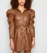 New Look Honey Behave Leather-Look Puff Sleeve Dress