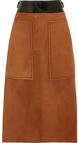 Bottega Veneta Cracked Leather-trimmed Suede Midi Skirt - Camel