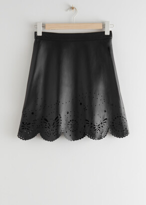 And other stories Laser Cut Leather Mini Skirt