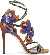 Jimmy Choo Lolita Appliquéd Metallic Leather Sandals - Purple
