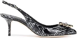 Dolce & Gabbana Crystal-embellished Printed Patent-leather Slingback Sandals