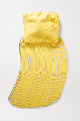 Bottega Veneta Fringe Gathered Leather Shoulder Bag - Yellow