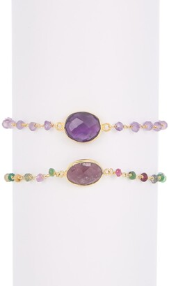 Forever Creations Usa Inc. Wire Wrapped Beaded Bracelet Set
