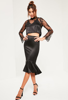 Missguided Black Satin Frill Dip Hem Midi Skirt