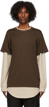 Mastermind Japan Brown and Beige Layered Long Sleeve T-Shirt