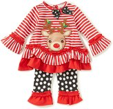 Rare Editions Baby Girls 3-24 Months Christmas Reindeer Striped Top & Dotted Leggings Set
