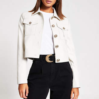 River Island Stone faux leather cropped jacket
