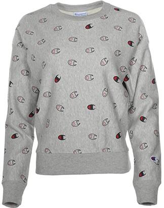 Champion Reverse Weave(r) Crew - Tossed C Logos All Over Print (Tossed C Logo Oxford Grey) Women's Sweatshirt