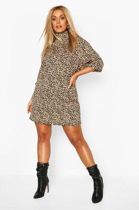 boohoo Plus Rib Leopard Shift Dress