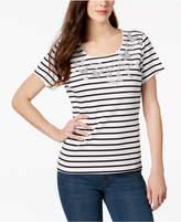 Karen Scott Embellished Striped T-Shirt, Created for Macy's