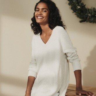 The White Company Cotton-Rich Zip-Side Jumper, Storm Grey, 6