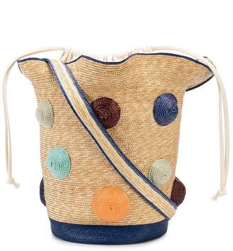 Rosie Assoulin Polka Dot Woven Basket Tote Bag