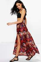 boohoo Jazzmyn Woven Double Split Maxi Skirt multi
