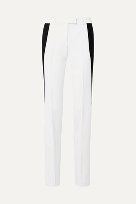 Michael Kors Collection Striped Stretch-crepe Wide-leg Pants - White