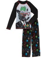 Komar Kids Black & Gray Nerdy Bear Pajama Set - Boys