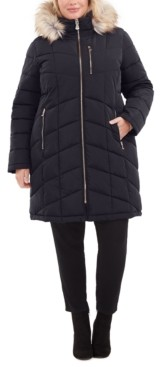Calvin Klein Plus Size Faux-Fur-Trim Hooded Water-Resistant Puffer Coat, Created for Macy's