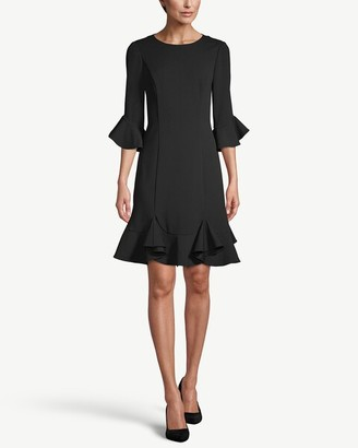 Adrianna Papell 3/4-Sleeve Ruffle-Trim Dress