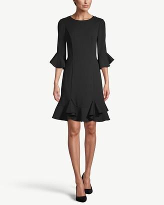 Adrianna Papell 3/4-Sleeve Ruffle-Trim Dress__