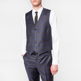 Paul Smith Men's Tailored-Fit Navy Muted-Check Wool Waistcoat