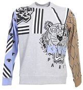 Kenzo Printed And Embroidered Grey Cotton Sweater