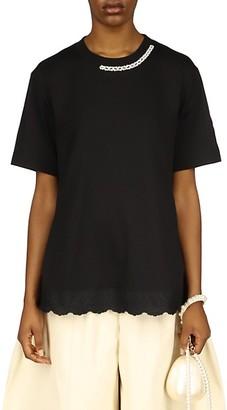 Simone Rocha Embellished Lace-Hem T-Shirt