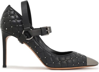 Valentino Silver Tone-trimmed Studded Quilted Leather Mary Jane Pumps