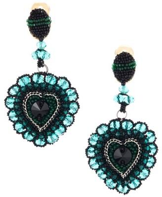 Oscar de la Renta Multi-Color Glass Heart Dangle Drop Clip-On Earrings