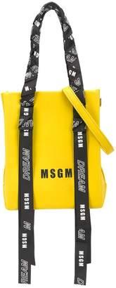 MSGM Kids woven logo strap tote bag