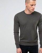 Armani Jeans Sweater with Crew Neck & Logo In Green