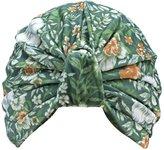 Luxury Divas Green Floral Leaf Print Turban Hat Sun Cap