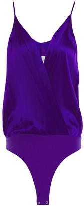 Mason by Michelle Mason Wrap-effect Silk-charmeuse And Jersey Bodysuit