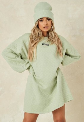 Missguided Sage Quilted Sweater Dress