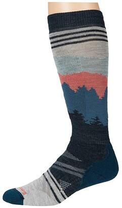 Smartwool PhD(r) Ski Medium Alpenglow Pattern (Ash) Men's Crew Cut Socks Shoes