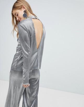 Pieces Metallic High Neck Top With Deep V Back-Silver