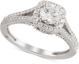 Marchesa Certified Diamond Engagement Ring ( 1-1/4 ct. t.w.) in 18k White Gold, Only at Macy's