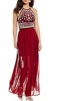 B. Darlin Beaded Illusion Tie Halter Neck Top Two-Piece Long Dress