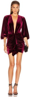 Alexandre Vauthier Velvet Jersey Mini Dress in Burgundy | FWRD