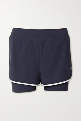 Ernest Leoty Fleur Layered Piped Stretch Shorts - Navy