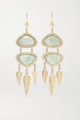 Jacquie Aiche 14-karat Gold, Calcite And Diamond Earrings - one size