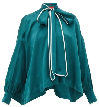 F.R.S For Restless Sleepers Alethia Pussy-bow Silk Blouse - Green Multi