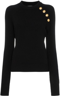 Balmain Buttoned Knitted Wool Cashmere Blend Jumper