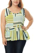 Allegra K Agnes Orinda Women's Plus Size Striped Scoop Neck Sleeveless Peplum Top Multi