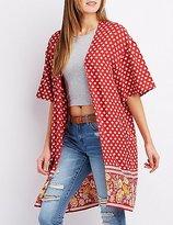 Charlotte Russe Floral Border Print Duster Kimono