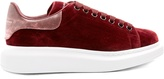 Alexander McQueen Raised-sole low-top velvet and leather trainers