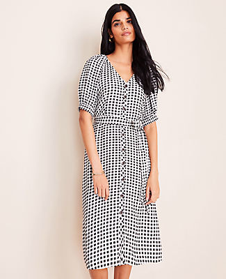 Ann Taylor Gingham Belted Shirtdress