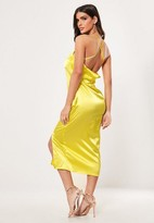 Missguided Yellow Satin Cross Back Midi Dress