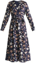 Winter Floral Wrap Front Culotte Jumpsuit With Self Belt In Winter Navy Floral Print