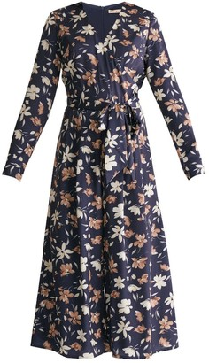 Paisie Winter Floral Wrap Front Culotte Jumpsuit With Self Belt In Winter Navy Floral Print
