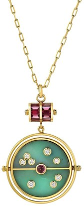 Retrouvaí 18kt Yellow Gold, Diamond, Garnet And Green Turquoise Grandfather Compass Pendant Necklace